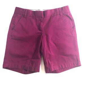 J. Crew Broken In Chino Shorts Size 6 Dark Magenta